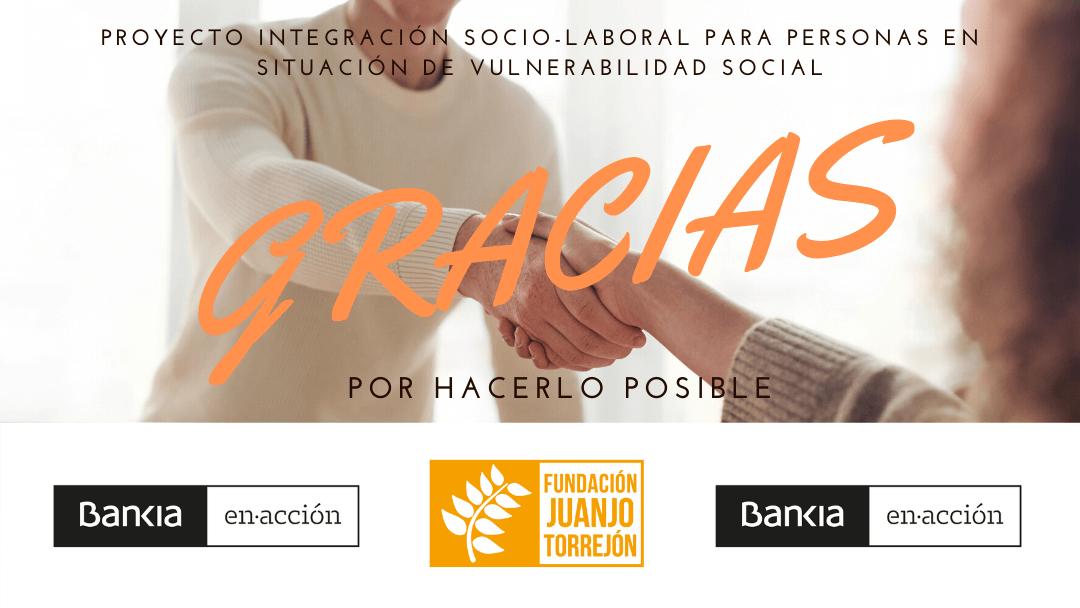 Bankia apoya con 3.050 euros el proyecto Integración Socio-laboral para personas en situación de vulnerabilidad social de Fundación Juanjo Torrejón