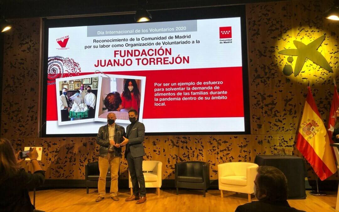 Fundación Juanjo Torrejón recibe el reconocimiento voluntariado 2020 de la Comunidad de Madrid